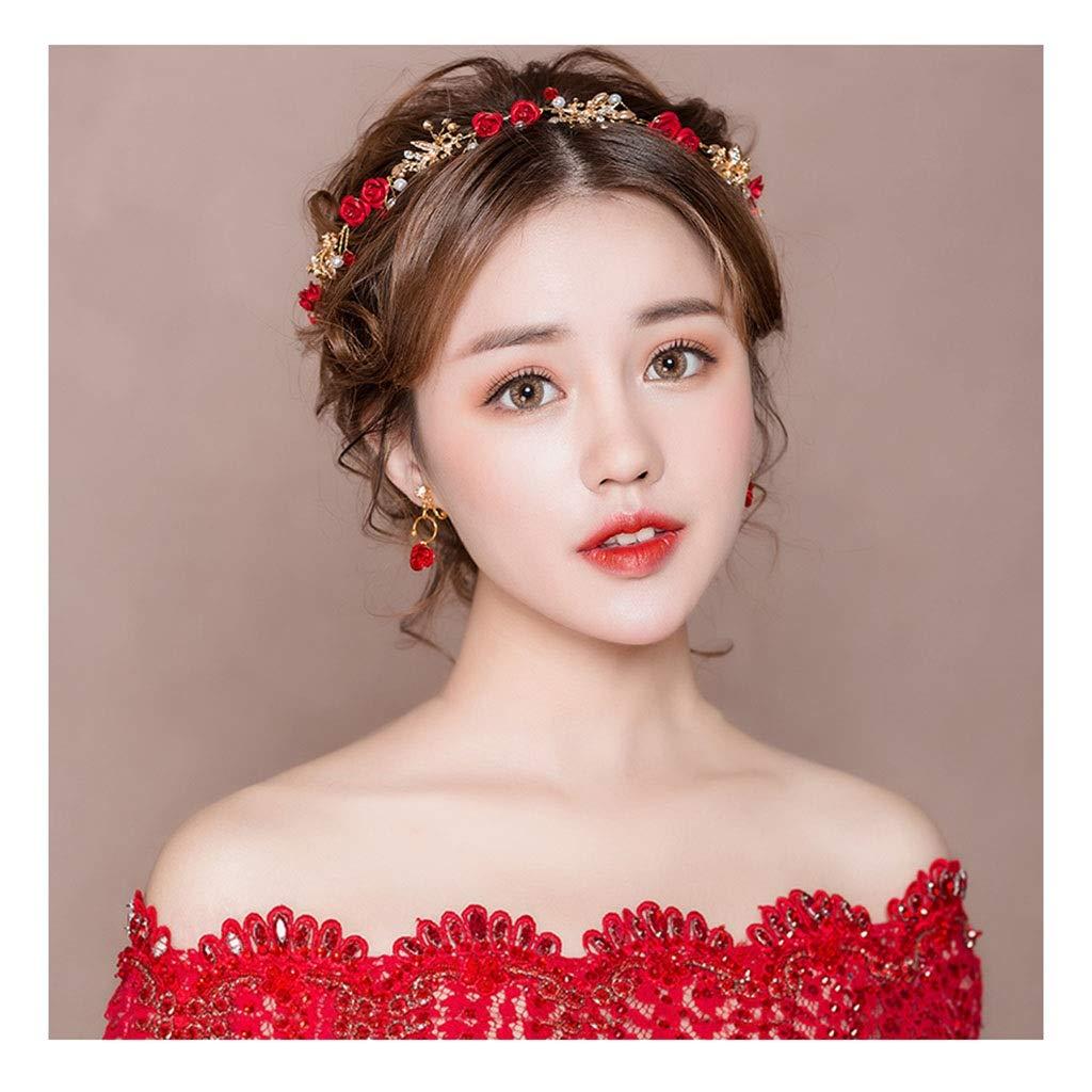 Wreath Flower Bride Headdress Wedding Dress Headband Hair Band Accessories Red (Color : C)