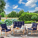 Solaura Patio Outdoor Furniture Bistro Set 5 Piece Conversation Set Light Brown Coated Metal Frame Nautical Navy Blue Cushions & Glass Coffee Table