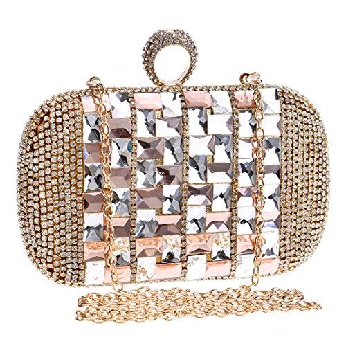 Crossbody Diamond Evening Clutch Lady Houyazhan Bag Handbags DonnacoloreViolaOro A43RjLcq5S