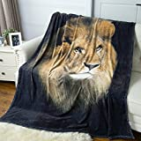 """Black Lion Printed Throw Blanket - Luxury Flannel Fleece Throw for men - Fuzzy Animal Blanket 50""""x60"""" Super Soft Cozy Lightweight Microfiber All Season Blanket for Bed or Couch by Bedsure"""