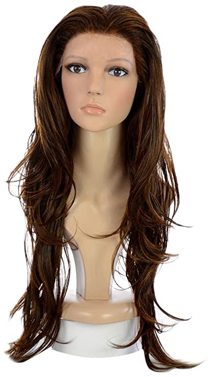 Hair By MissTresses largo ondulado Lace Front Peluca, castaño