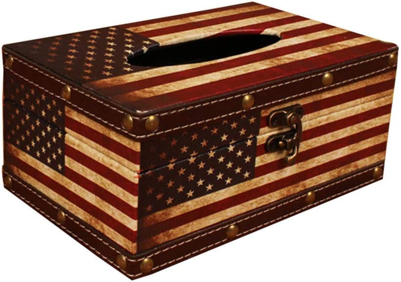 Wooden Tissue Box Cover Holder - Vintage American Flag Style Classical Napkin Box for Home Office Room Decor