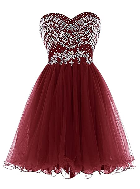 798ddeaa58d Image Unavailable. Image not available for. Color  Elinadress Women s Short  Sweetheart Beaded Prom Dress Tulle Homecoming Dress (Burgundy)