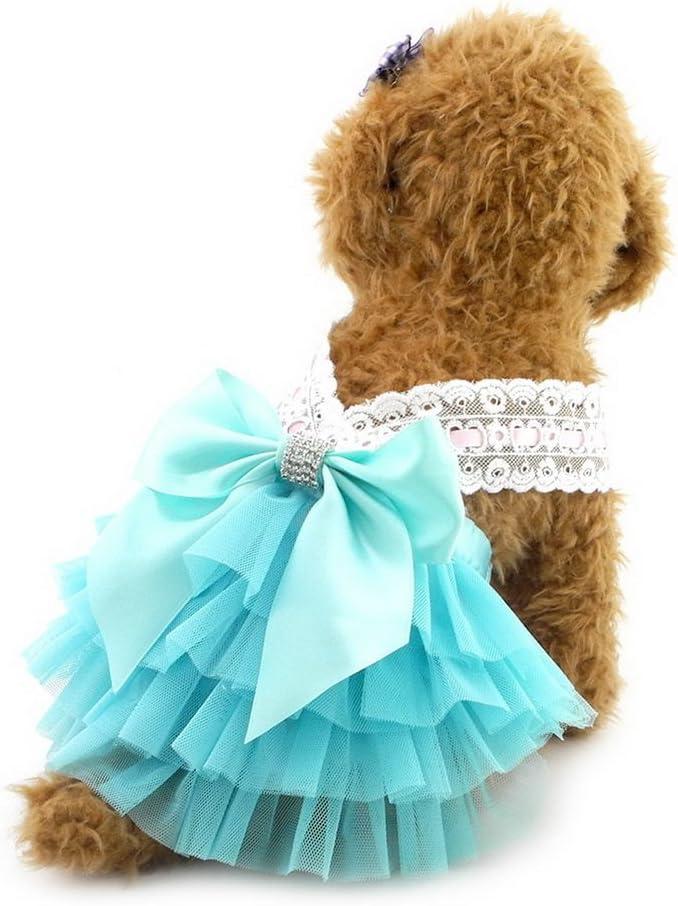 mit Schleife Princess Tutu Halfter Kleid formale Rock R/üsche Pet Puppy Katze Hund Sommer Kleidung selmai Hochzeit Kleid f/ür kleine Hunde