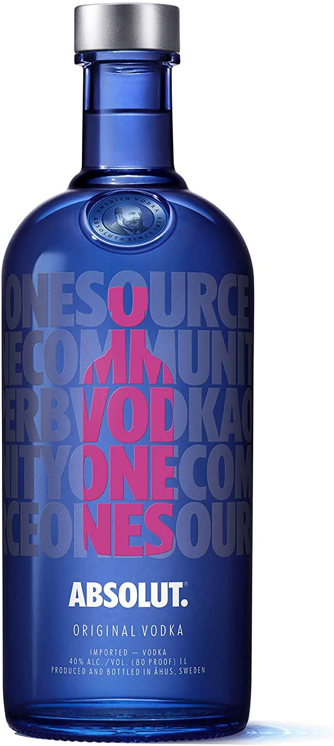 Onwijs Absolut Vodka 1 Litre Limited Edition Drop Bottle (Colourways vary FV-03