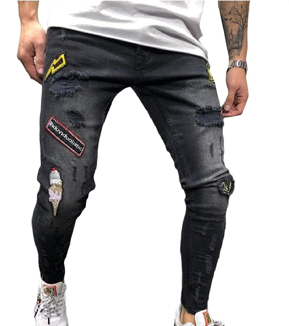 SportsX Mens Ankle Ripped Hole Stretchy Ripped Hole Floral Denim Pants