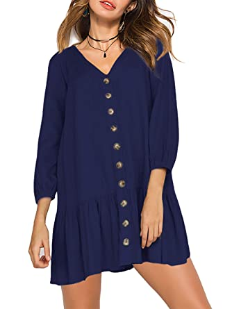 0c478334263 Amoretu Womens 3 4 Long Sleeve Tunic Dresses V Neck Button Swing Shift Dress  (Navy