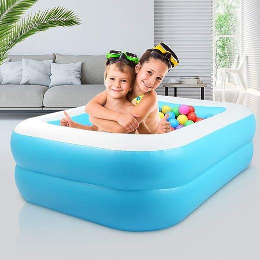 KKTECT Piscina Inflable, Segundo Anillo PVC Resistente Piscina Portátil Rectangular Familiar, para niños, Adultos al Aire Libre Juego de jardín Interior Azul (L): Amazon.es: Jardín