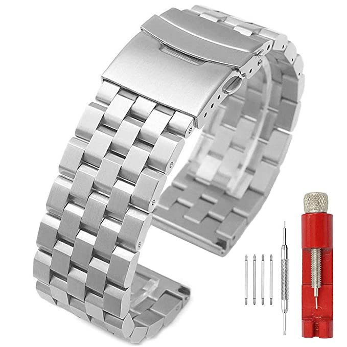 10 opinioni per Premium opaca 5 file double Locks stainless steel Watch Band strap, fascia di