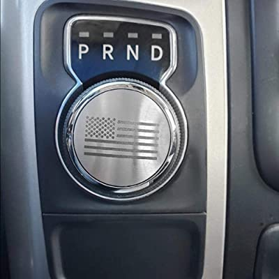 Dial Shifter Trim Plates Etched Brushed Stainless - Fits Chrysler 300/200/Pacifica & Voyager, Dodge Ram 1500, Rebel & RAM 2500, Dodge Durango | Etched American Flag Style: Automotive