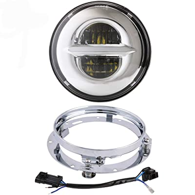 Z-OFFROAD New 7 inch LED Headlight DRL Halo Bulb Kit with Mounting Bracket Ring for Harley Davidson Ultra Classic Electra Street Glide Road King Heritage Softail Deluxe Slim Fatboy - Chrome: Automotive