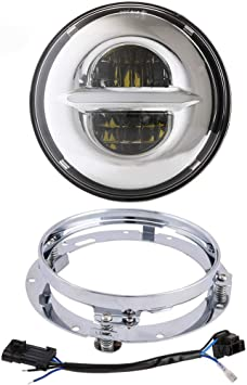 2019 New Version 7 inch Black LED Headlight DRL Halo Bulb Kit with Mounting Bracket Ring for Harley Davidson Ultra Classic Electra Street Glide Road King Heritage Softail Deluxe Slim Fatboy Z-OFFROAD Z-017902A