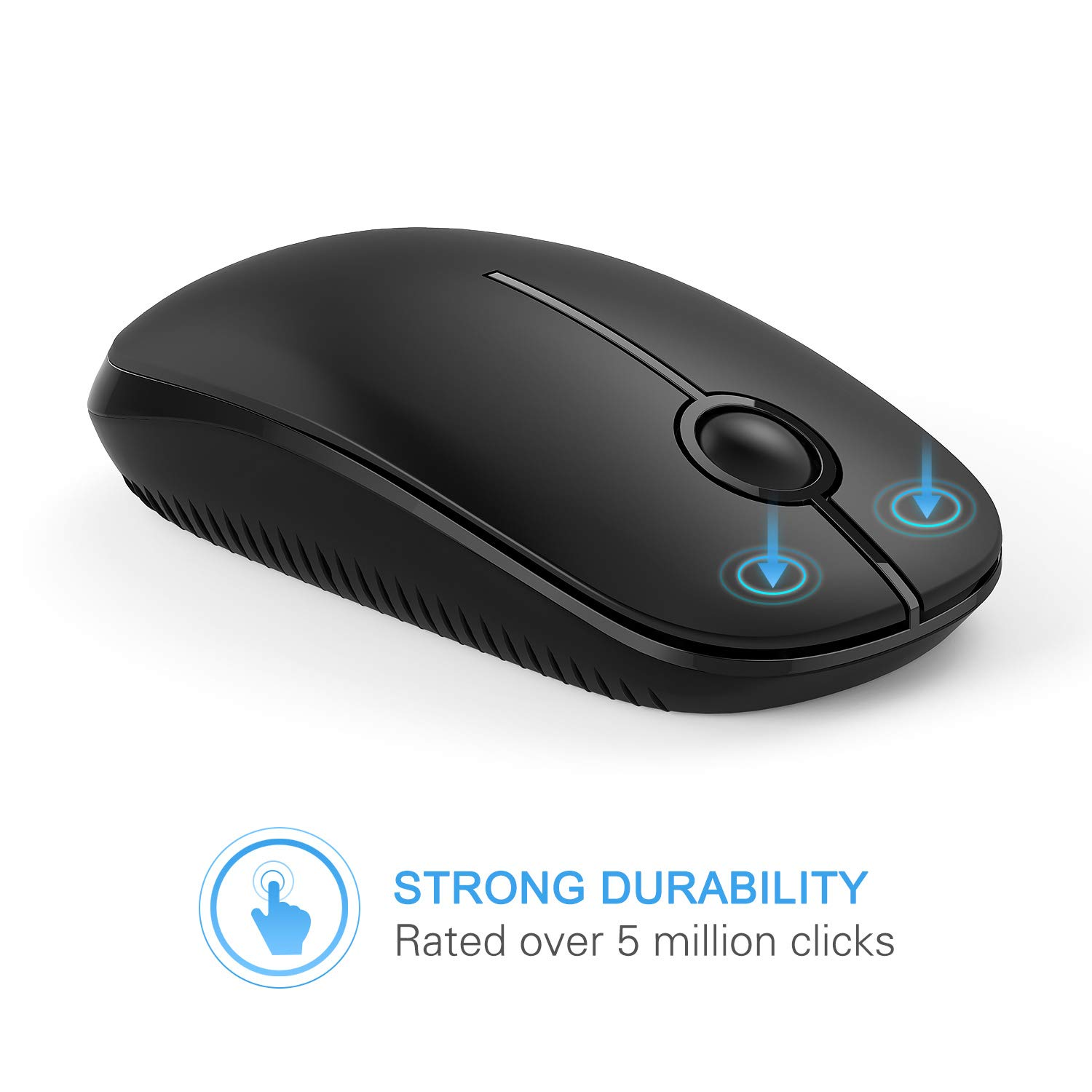 Black Jelly Comb Wireless Mouse Slim Portable 2.4G Mouse for Laptop Computer PC