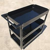 Black 150KG Workshop Metal Mechanic Handyman Tool Cart Trolley 3 Tiers Level Tray