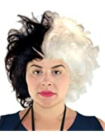 Cruella De Vil Wig Cruella Deville Wig Black and White Dalmation Costume Wig for Women and Girls