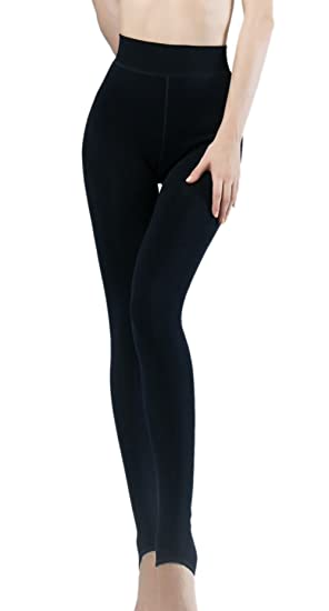 32b165cd32a639 Ueither Women's Warm Thick Soft Winter Thermal Fleece Lined Leggings  Elastic High Waist Tights (Black