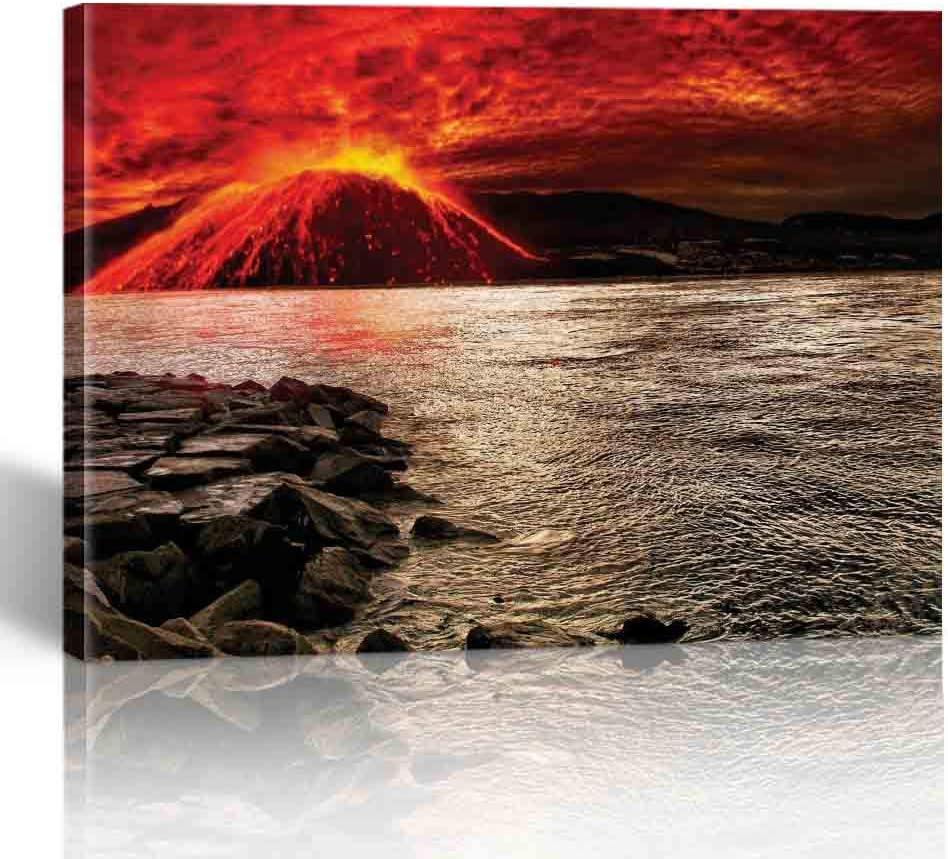 Amazon Com Lemei Wall Art Canvas Print Volcano Spouts Flame And