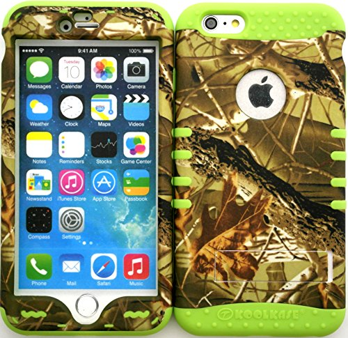 Iphone 6s Plus Case, Wireless Fones TM Heavy Duty Hybrid Kickstand Cover Case Exclusive Camo Mossy Snap on Over Lime Green Skin for Iphone 6s PLUS