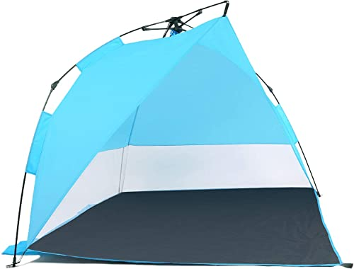 Odoland Easy Pop Up Beach Tent Sun Shelter Umbrella, Family Beach Shade for 2-3 Persons, Waterproof and Portable Sun Shade Instant Tent for Camping, Hiking, Fishing with Extra 4 Tent Pegs