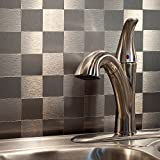 Aspect Peel and Stick Backsplash 12inx4in Square Stainless Matted Metal Tile approx 15 Sq Ft Kit for Kitchen and Bathrooms