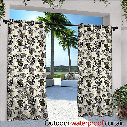 warmfamily Grey and Yellow Indoor/Outdoor Single Panel Print Window Curtain Tropical Plumeria Silver Grommet Top Drape W120 x L108