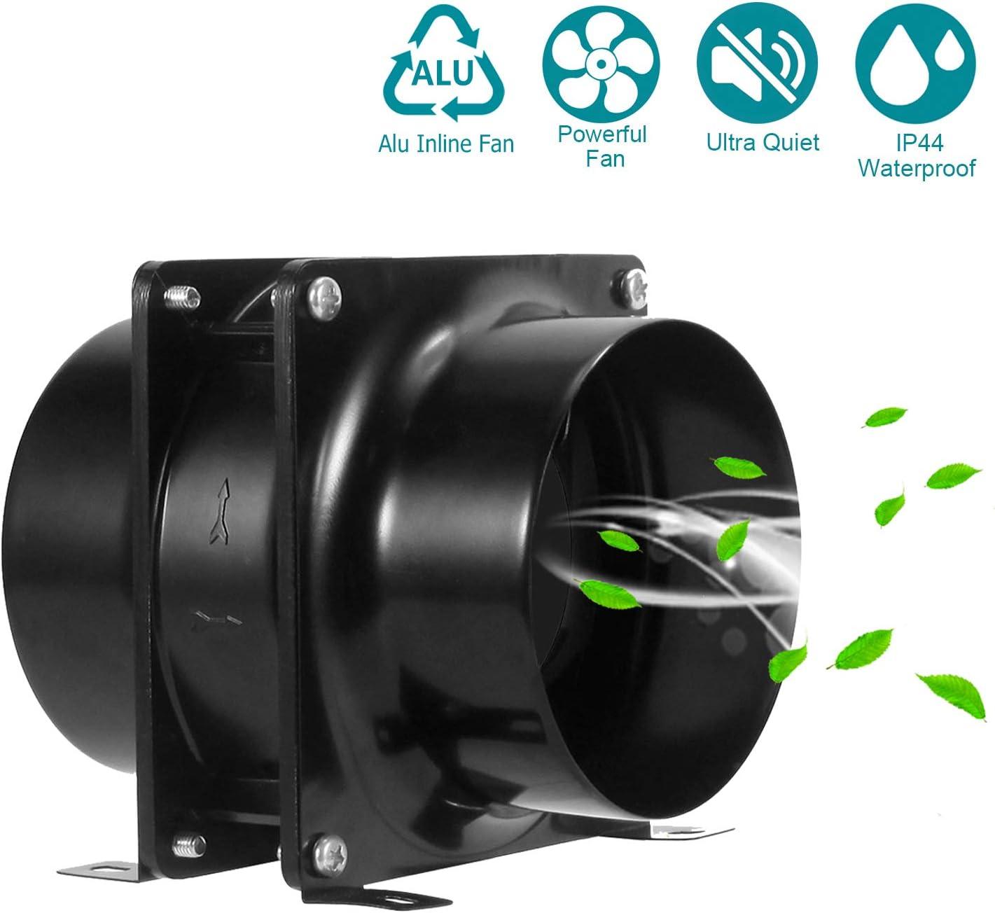 Ventilador extractor HG POWER Silencioso Axial flujo mixto en l/ínea ventilaci/ón conducto ventilador para /áticos tiendas de cultivo ventilaciones s/ótanos