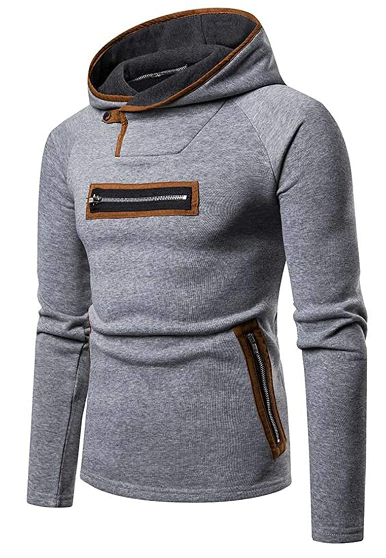 Hajotrawa Mens Hoodie Zipper Splice Long-Sleeve Pullover Sweatshirts