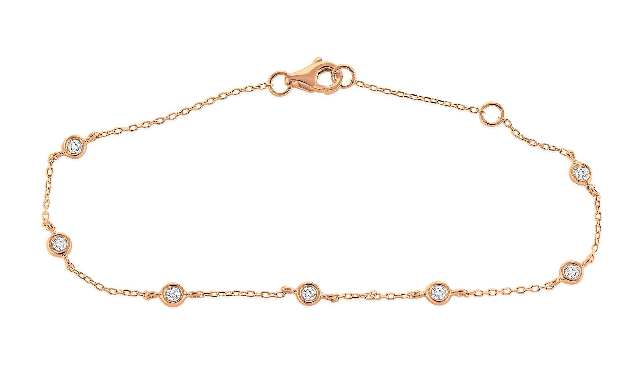 0.15 Ct. 925 Sterling Silver Natural Round Cut White Diamond Ladies Bezel Set Chain Bracelet Adjustable