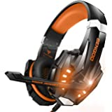BENGOO G9000 Stereo Gaming Headset for PS4, PC, Xbox One Controller, Noise Cancelling Over Ear Headphones with Mic, LED Light, Bass Surround, Soft Memory Earmuffs (Orange)