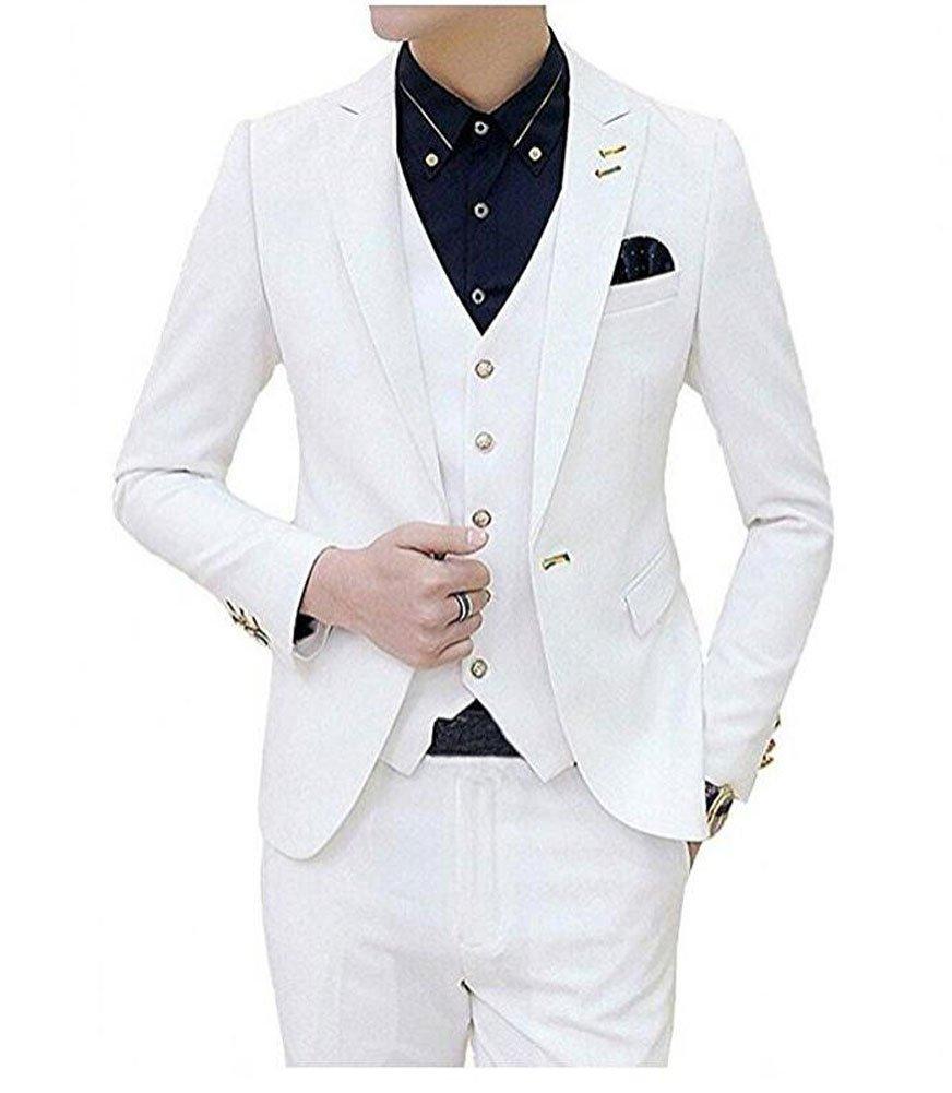 Botong One Button White Men Suit 3 Pieces Jacket Vest Pants Wedding Suits White 38 chest / 32 waist