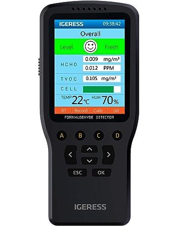 IGERESS Detector de formaldehído para interiores Monitor de calidad del aire Monitor de HCHO Medidor TVOC