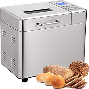 COSTWAY 2LB Bread Maker, 15 Programmable Multifunctional Bread Machine with 15 Programs,Automatic 15 Hours Delay Timer, 3 Loaf Sizes, 3 Crust Colors, 1 Hour Keep Warm (15 Programs 600W)