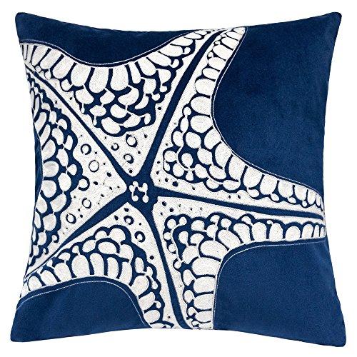 Homey Cozy Embroidery Navy Velvet Starfish Throw Pillow Cover,Ocean Blue Series Nautical Decorative Pillow Case Coastal Beach Theme Home Decor 20x20,Cover Only (Cushion Starfish)