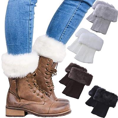 Women Winter Faux Fur trim Boot Cuffs Socks Crochet Knitting Short Leg Warmers 4 Pack: Clothing