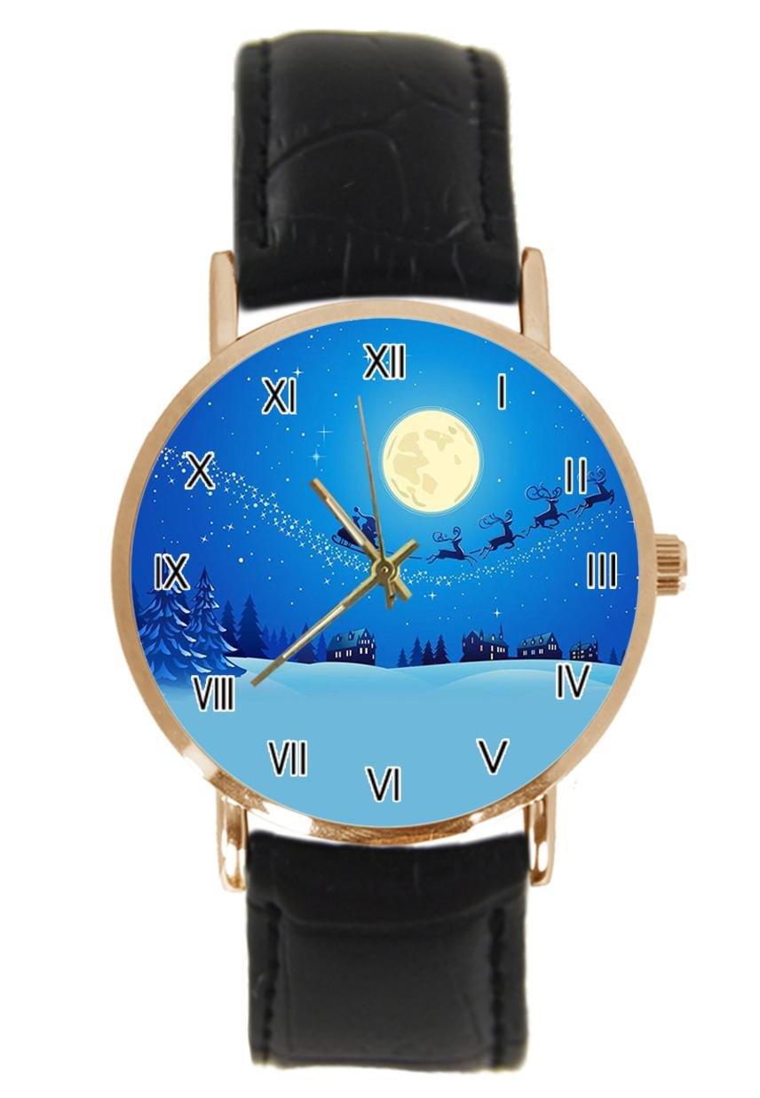 jkfgweeryhrt New Simple Fashion Christmas Eve Santa Claus Steel Leather Analog Quartz Sport Wrist Watch