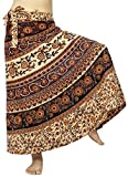 Lovely Creations Women's Long Cotton Boho Bohemian Hippie Indian Wrap Skirt (B Purple Orange)