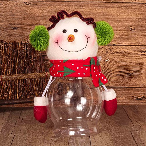 (Fashionclubs Christmas Small Candy Cookie And Gift Container Bottle Jar Elk Snowman Santa Clause Design 10cmx25cm (Snowman))