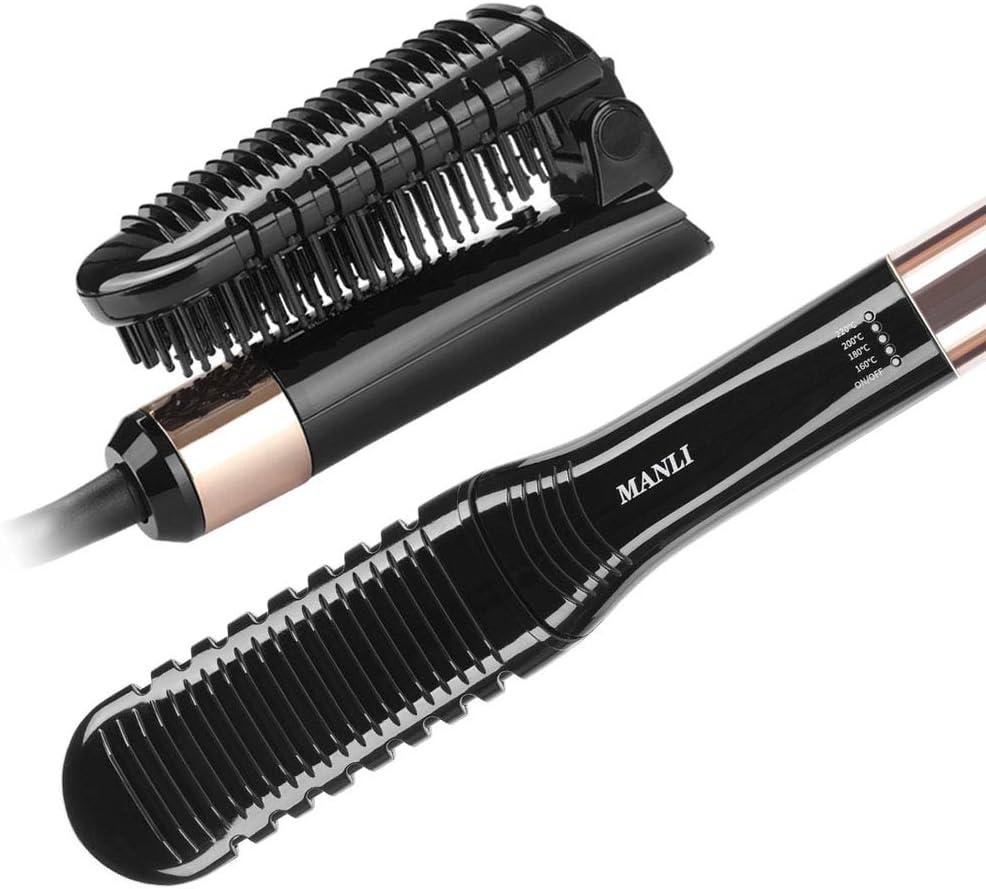 Ionic cepillo alisador de pelo, peine alisador de cerámica antiquemaduras y antiestático con apagado automático y funciones de bloqueo de temperatura