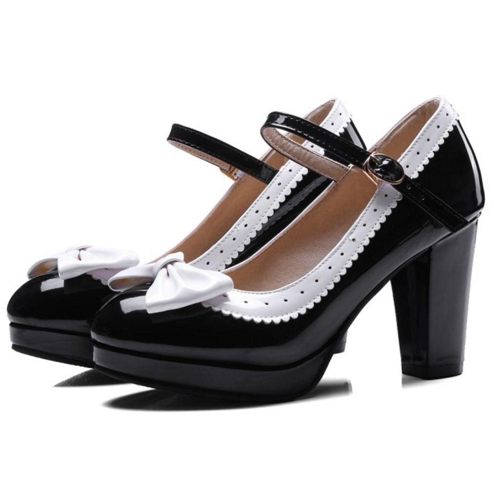 BeiaMina Mujer Dulce Bombas Zapatos Lazo Mary Jane Pump