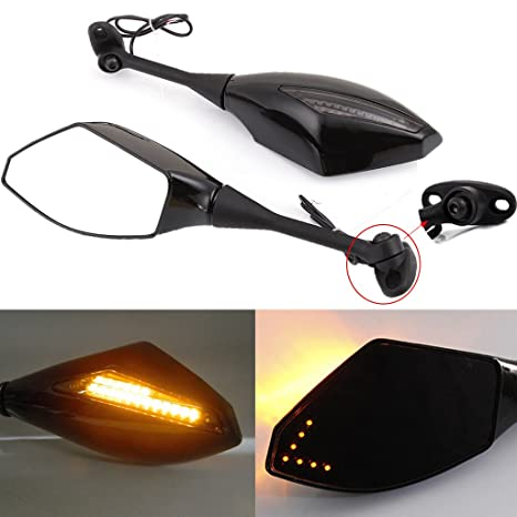 Black Motorcycle Side Rear View Mirrors With Turn Signal For Sport Bike Honda Cbr600rr 2003 2011 Cbr1000rr 2004 2007 Smooth Black Smoke Lens