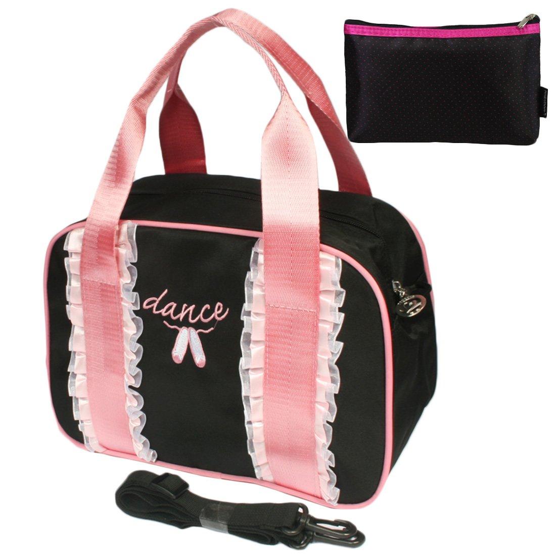 kilofly Ballerina Ballet Slippers Dance Ruffles Sling Bag Handbag + Handy Pouch AWP406set2