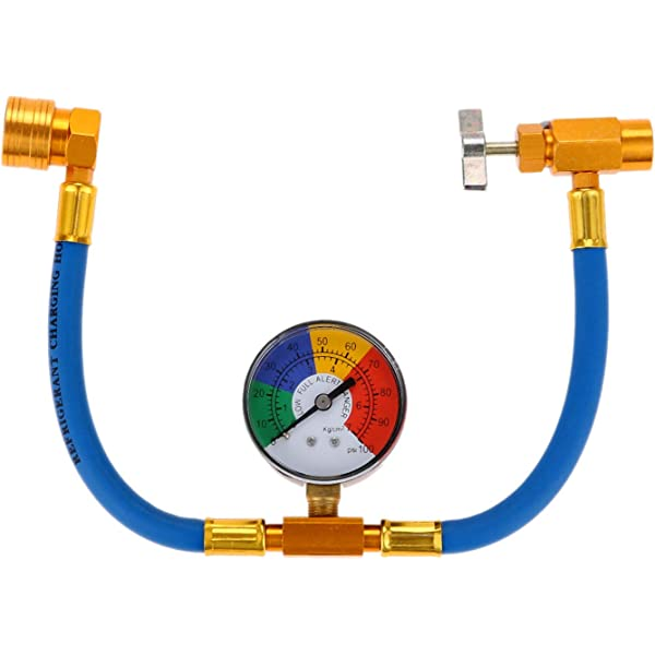 TIKSCIENCE R134a Recharge Hose Kit with Gauge,Fits for R134A R12 or R22 Refrigerant to Vehicle//Home Air-Conditioning,AC Recharge Hose Kit,R134A Quick Couple with with 1//2/'/' Acme Male 1//4 SAE Female