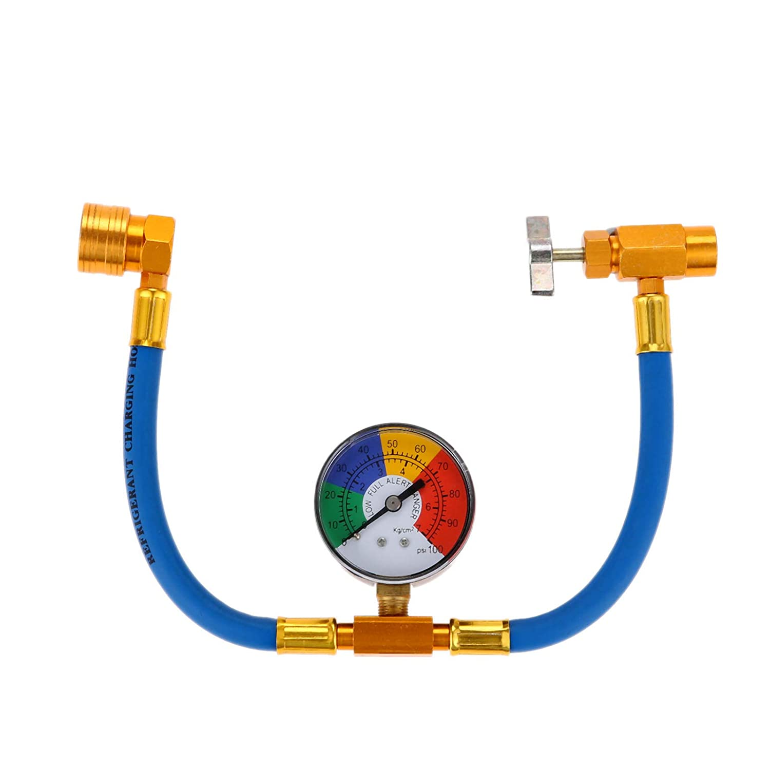 Aupoko R-134A AC Refrigerant Can Opener Tap Dispensing Valve 1/2 Acme Thread Brass (R134A Recharge Hose/w Gauge)