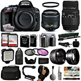 Nikon D5300 DSLR Digital Camera with 18-55mm VR II + Sigma 70-300mm Lens + 128GB Memory + 2 Batteries + Charger + LED Video Light + Backpack + Case + Filters + Auxiliary Lenses + $50 Gift Card + More!