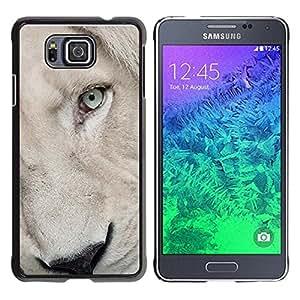 Caucho caso de Shell duro de la cubierta de accesorios de protección BY RAYDREAMMM - Samsung GALAXY ALPHA G850 - Lion Cub Puppy White Eye Muzzle