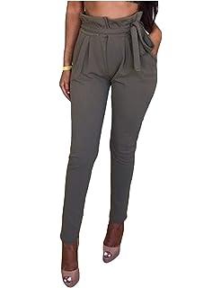 BOLAWOO Pantalons Jogging Femme Printemps Automne Pants Elégante Mode Chic  Pantalon Chino Casual Uni Manche Taille 2dfabd299c7
