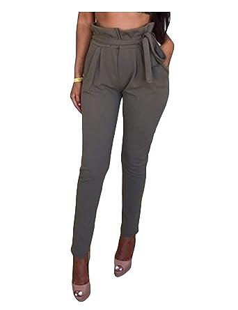 Pantalons Jogging Femme Printemps Automne Pants Elégante Mode Chic Pantalon  Chino Casual Uni Manche Taille Haute cb133089cd3