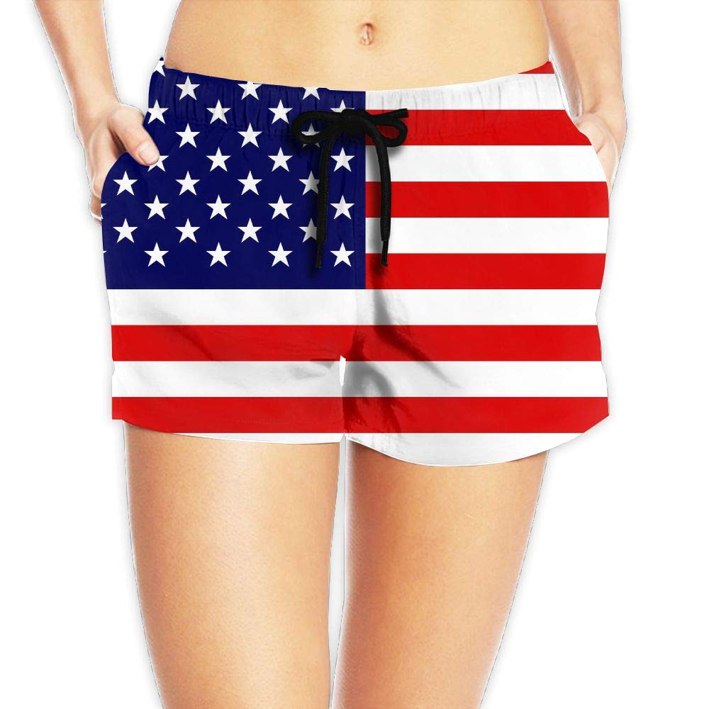cc273d8e38b USA Flag Girl's Hot Pants Sexy Low Waist Beach Shorts Quick Dry Swim Trunks  with Pocket at Amazon Women's Clothing store: