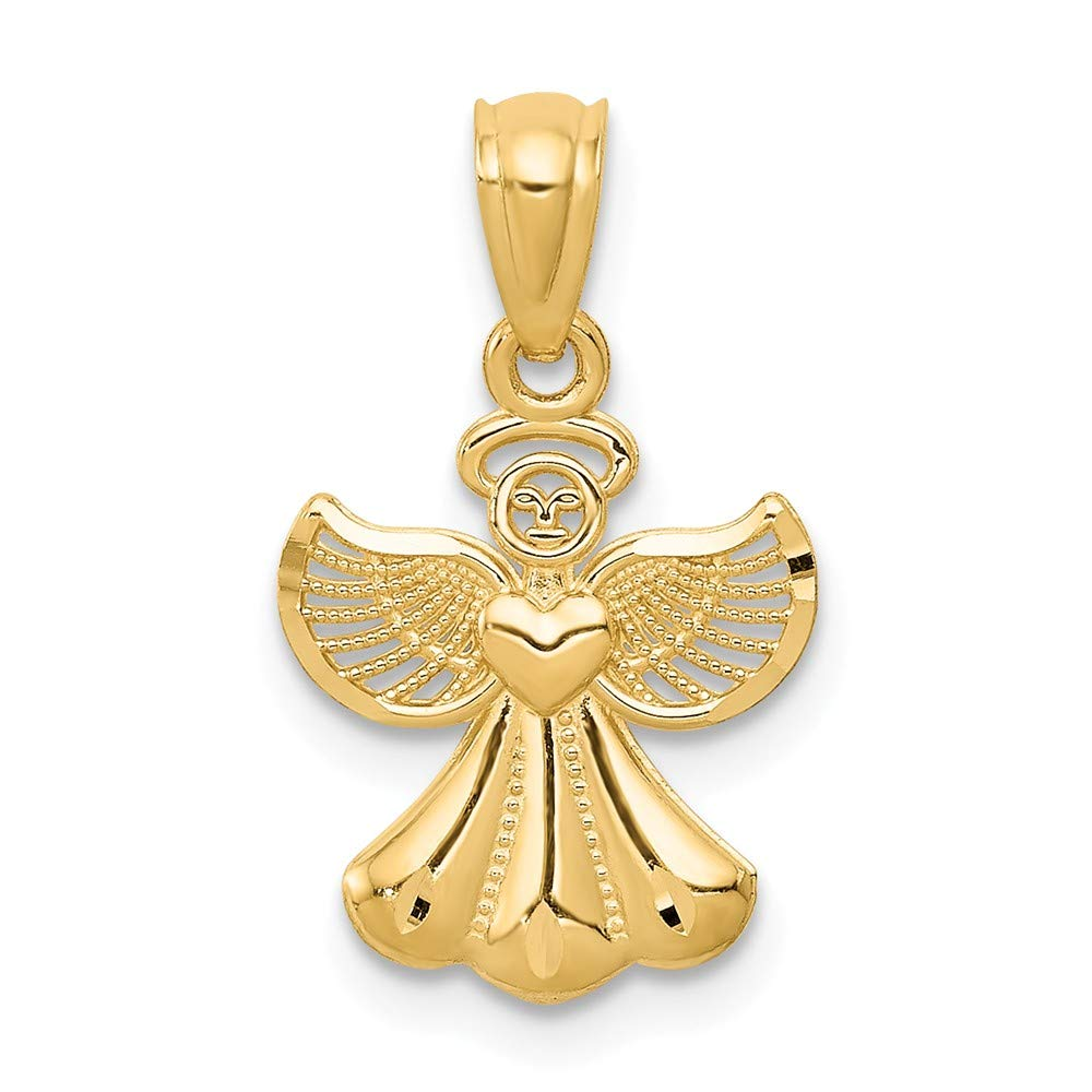 14K Yellow Gold Jewelry Pendants /& Charms Solid 11 mm 20 mm Polished Angel Pendant