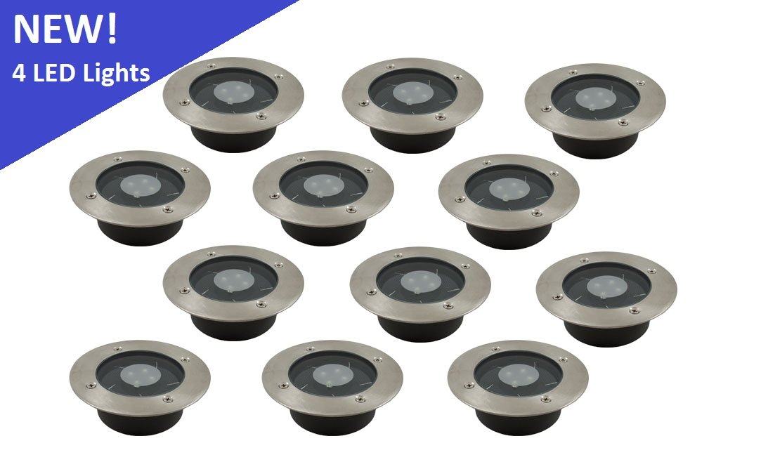 (12 Pack) Solar White LED Round Recessed Deck Dock Patio Light